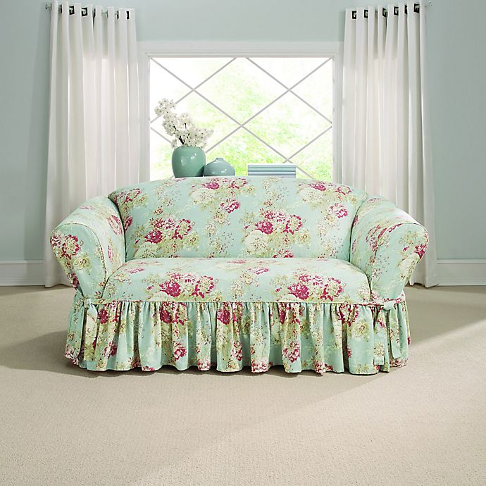 Alternate image 1 for Sure Fit® Ballad Bouquet by Waverly™ Loveseat Slipcover in Robin's Egg Blue