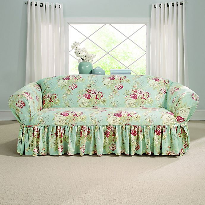 Alternate image 1 for Sure Fit® Ballad Bouquet by Waverly™ Sofa Slipcover Robin's Egg Blue