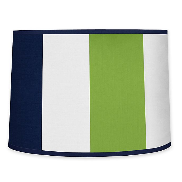 Alternate image 1 for Sweet Jojo Designs Navy and Lime Stripe Lamp Shade