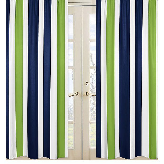 Alternate image 1 for Sweet Jojo Designs Navy and Lime Stripe Window Panel Set