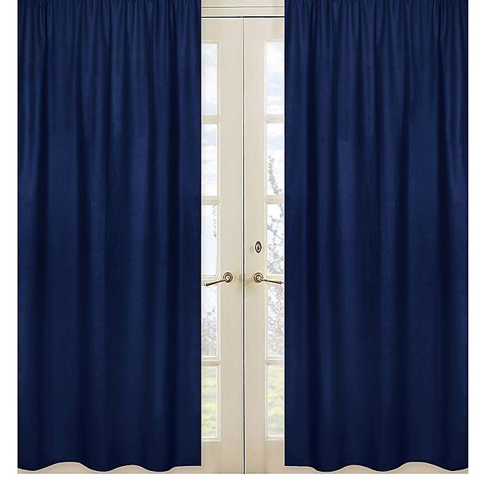 Alternate image 1 for Sweet Jojo Designs Solid Navy Window Curtain Panel Set