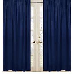 Sweet Jojo Designs Solid Navy Window Curtain Panel Set