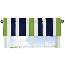 Sweet Jojo Designs Navy and Lime Stripe Window Valance