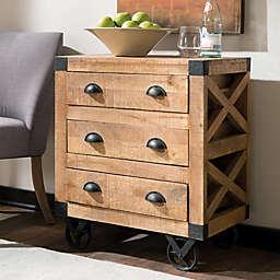Home Wood 3-Drawer Accent Cabinet