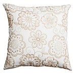 Softline Home Fashions Floral Embroidery Square Throw Pillow in Champagne