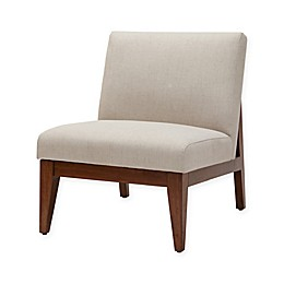 Madison Park Kari Slant Back Wood Accent Chair in Cream