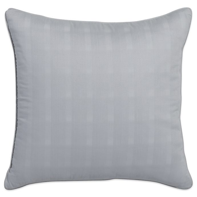 Alternate image 1 for Portico Glacier Bay Organic Cotton Plaid Square Throw Pillow in Light Grey