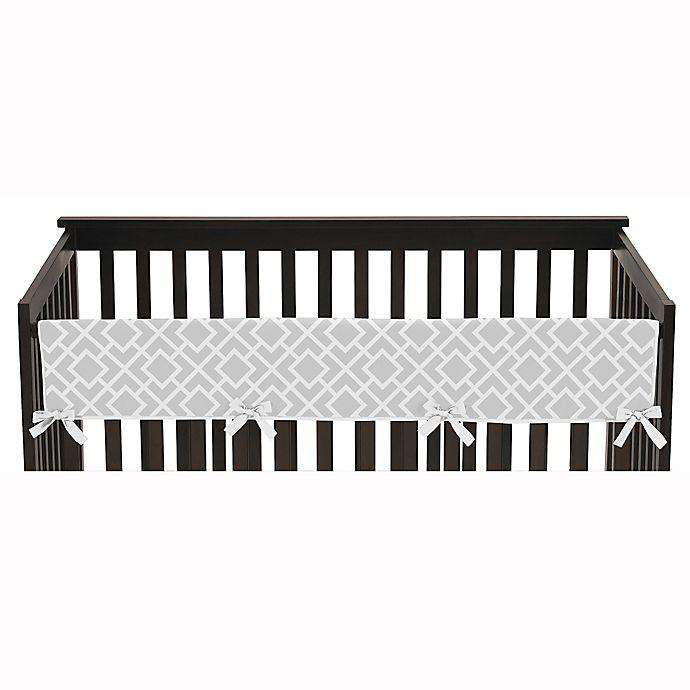 Alternate image 1 for Sweet Jojo Designs Diamond Long Crib Rail Guard Cover in Grey/White