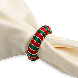Holiday Yarn Wrapped Napkin Rings (Set of 12)