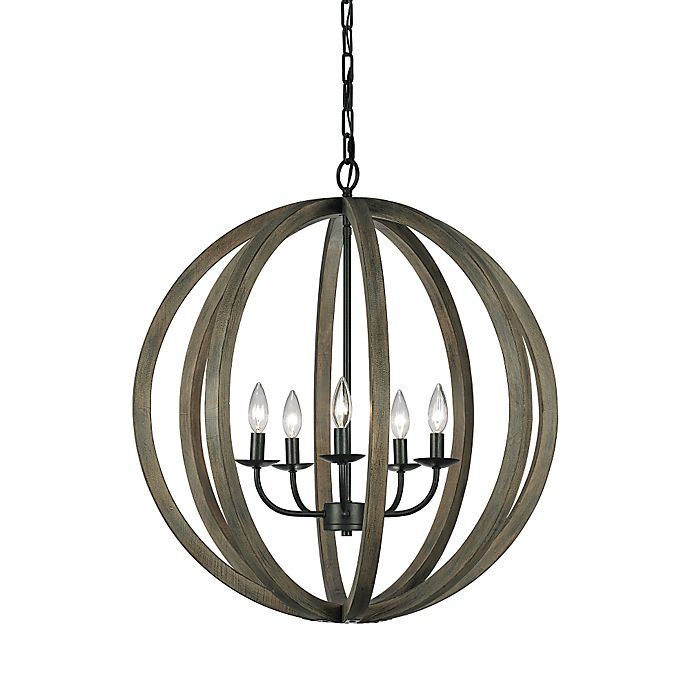 Alternate image 1 for 5-Light Foyer Pendant Fixture in Iron Weathered Oak