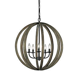 5-Light Foyer Pendant Fixture in Iron Weathered Oak