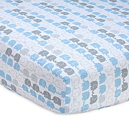 Zutano® Elefant Blau Striped Fitted Crib Sheet