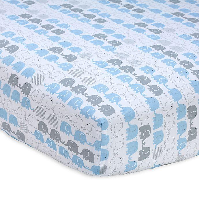 Alternate image 1 for Zutano® Elefant Blau Striped Fitted Crib Sheet