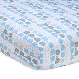 Zutano® Elefant Blau Striped Fitted Crib Sheet