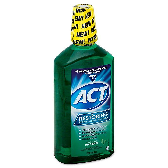 Alternate image 1 for ACT® Restoring® 33.8 fl. oz. Anticavity Fluoride Mouthwash in Mint Burst