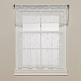 Heritage Lace® Wind Chill Kitchen Window Tier with Trim  and Valance in White