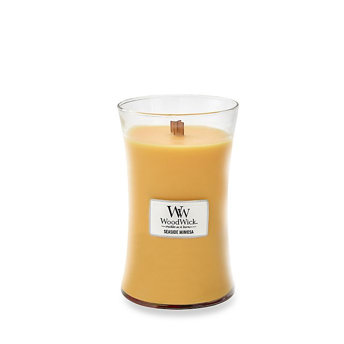 Alternate image 1 for WoodWick® HearthWick Flame® Seaside Mimosa Large Jar Candle