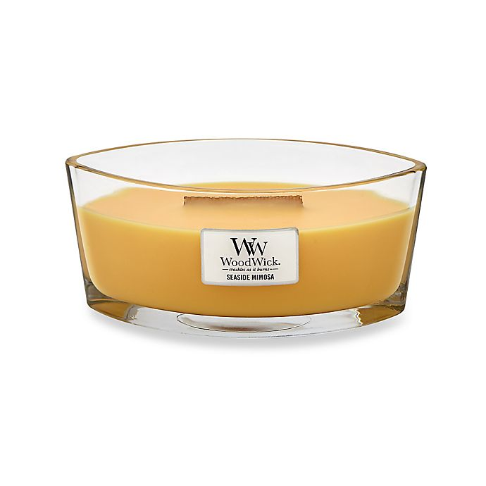 Alternate image 1 for WoodWick® HearthWick Flame® Seaside Mimosa Candle
