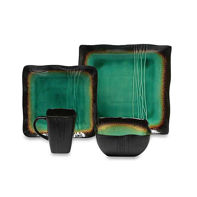 Alternate image 1 for Baum Galaxy Square 16-Piece Dinnerware Set in Jade