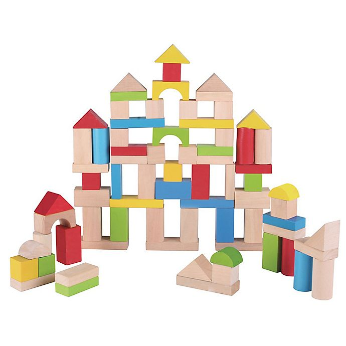 Alternate image 1 for Maxim® Pre-School 75-Piece Wooden Bucket Blocks