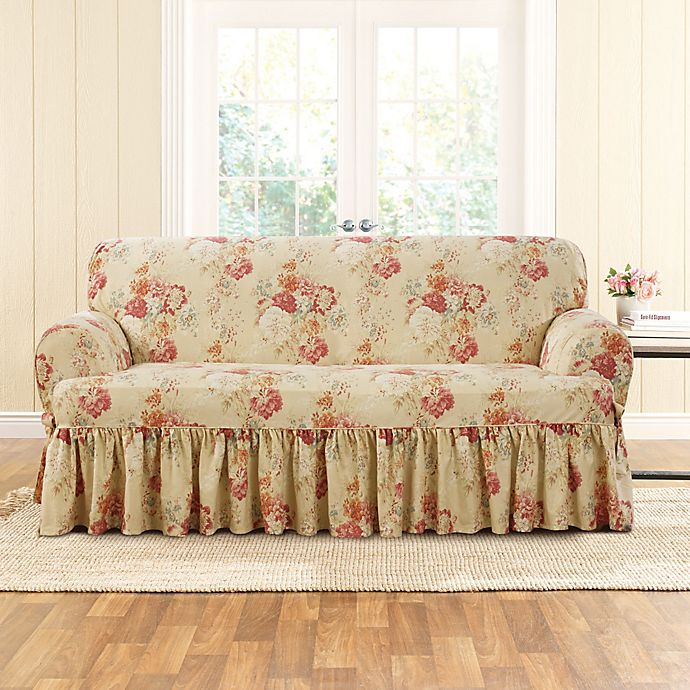 Alternate image 1 for Sure Fit® Ballad Bouquet by Waverly™ T-Cushion Loveseat Slipcover in Blush