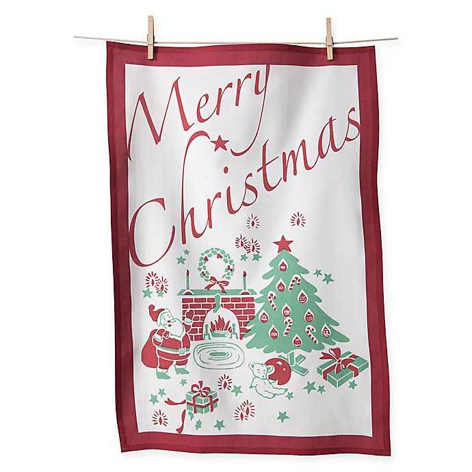Flour Sack Cotton Merry Christmas Kitchen Towels In Red White Set Of 2 Bed Bath Beyond