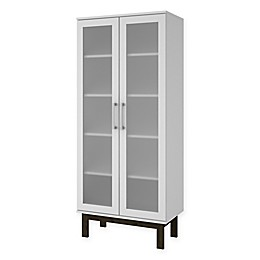 Manhattan Comfort Serra Cabinet Bookcase with Square Legs in White