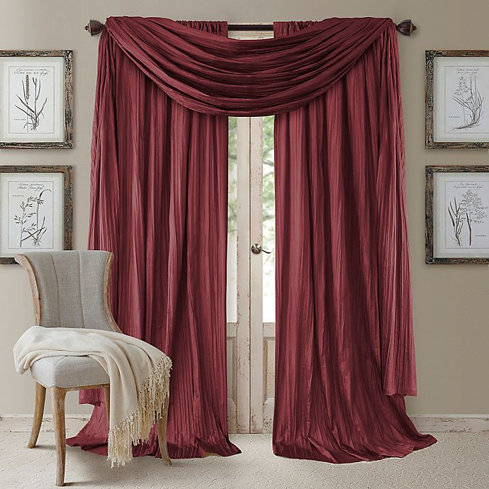 Alternate image 1 for Elrene Athena 95-Inch Rod Pocket Window Curtain Panels and Scarf Valance Set in Red