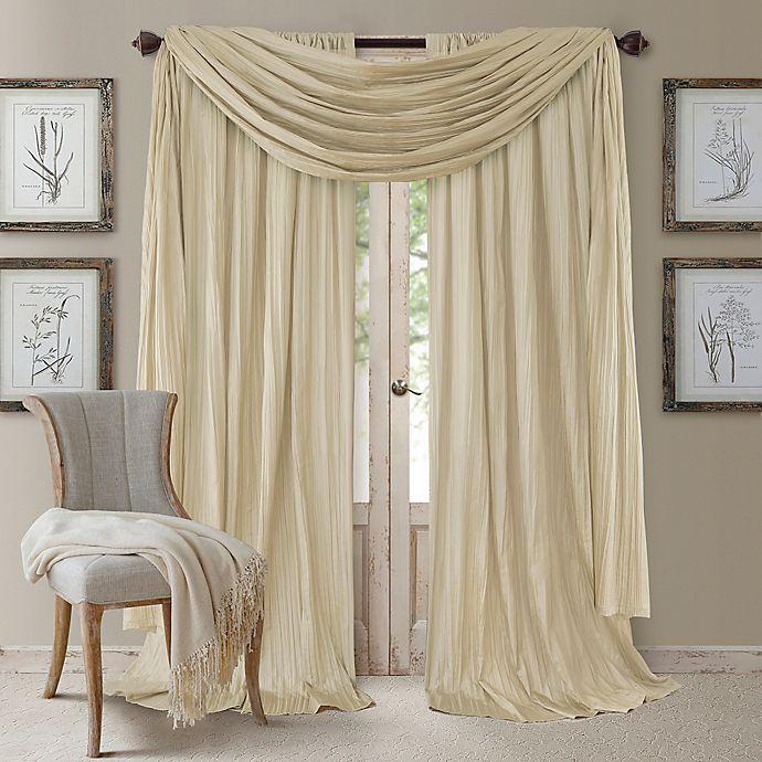Alternate image 1 for Elrene Athena 95-Inch Rod Pocket Window Curtain Panels and Scarf Valance Set in Ivory