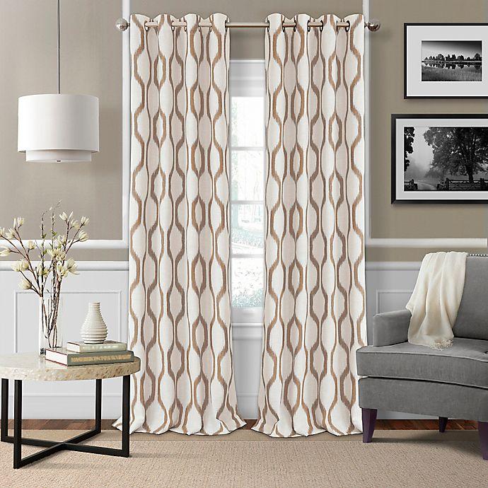 Alternate image 1 for Elrene Renzo 95-Inch Grommet Ikat Geometric Linen Darkening Window Curtain Panel in Natural