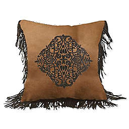 HiEnd Accents Las Cruces II Embroidered Square Throw Pillow in Tan/Brown