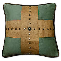 HiEnd Accents Las Cruces II Studded Cross Square Throw Pillow in Tan