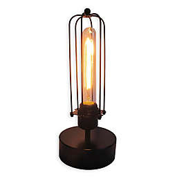 Caged Table Vintage Light Bulb Lamp with Glass Lamp Shade in Black