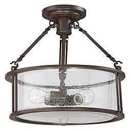 Quoizel Buchanan 3-Light Semi-Flush Ceiling Light in Bronze