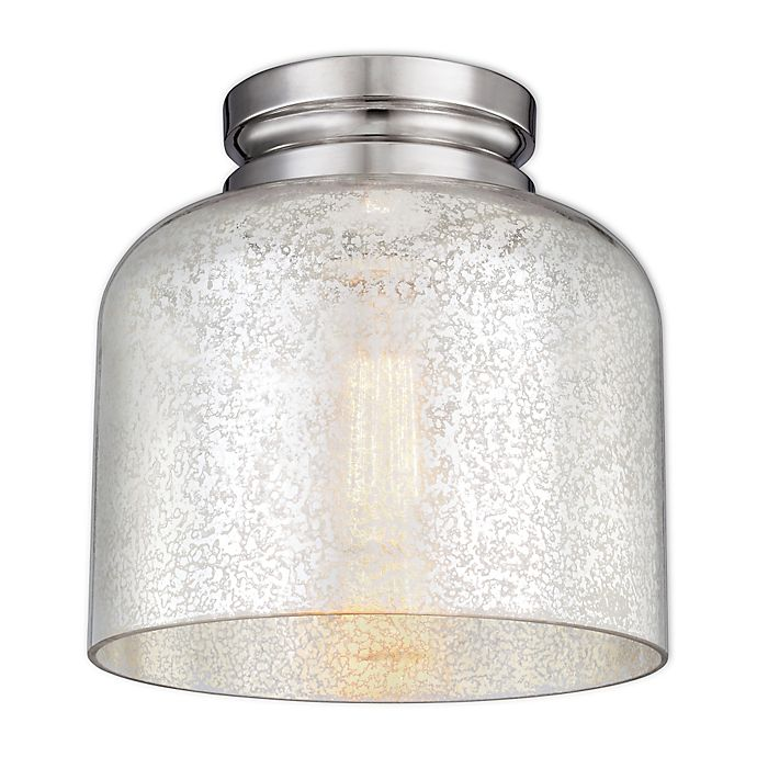 Alternate image 1 for Feiss® Houndslow 1-Light Flush-Mount Fixture with Silver Mercury Plating Glass Shade