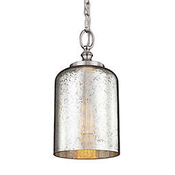 Feiss® Houndslow 1-Light Mini Pendant with Silver Plating Glass Shade