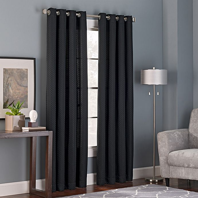 Alternate image 1 for Bianca 84-Inch Grommet Top Window Curtain Panel in Black