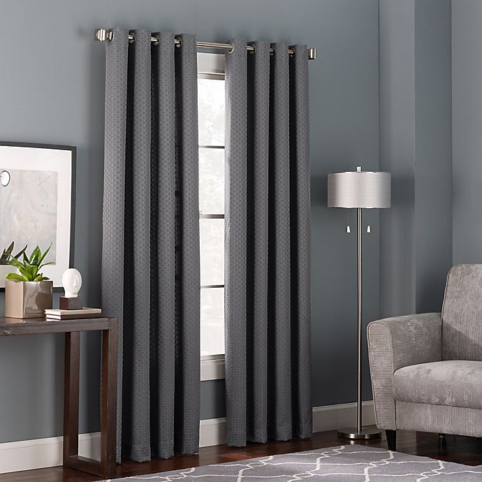 Alternate image 1 for Bianca 63-Inch Grommet Top Window Curtain Panel in Charcoal