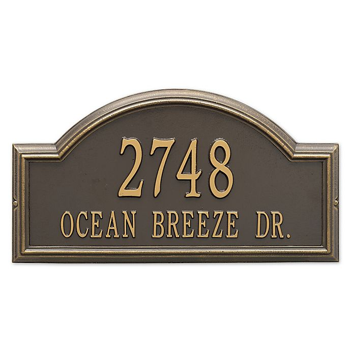 Alternate image 1 for Whitehall Products Providence 2-Line Arch Address Plaque in Bronze/Gold