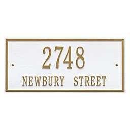 Whitehall Product Hartford 2-Line Wall Plaque in White/Gold