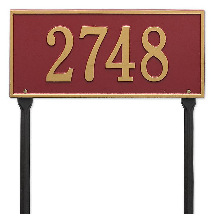 Alternate image 1 for Whitehall Products Hartford 1-Line Standard Lawn Plaque in Red/Gold