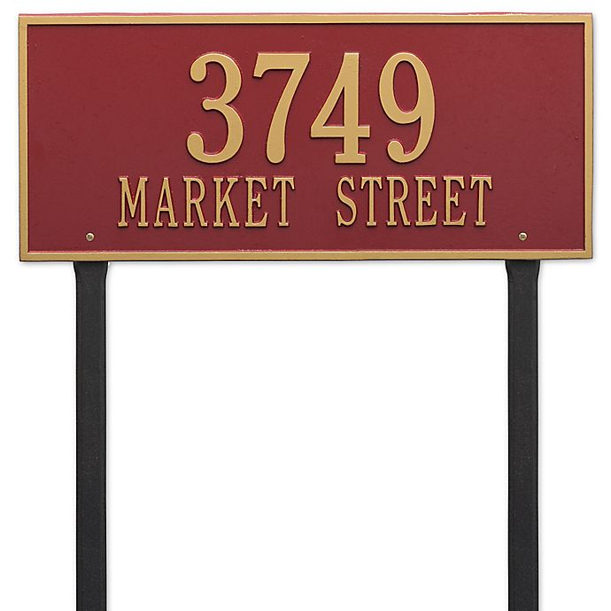 Alternate image 1 for Whitehall Products Hartford 2-Line Lawn Plaque in Red/Gold