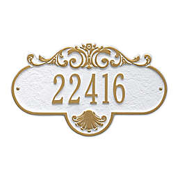 Whitehall Products Standard One-Line Rochelle Wall Plaque in White/Gold