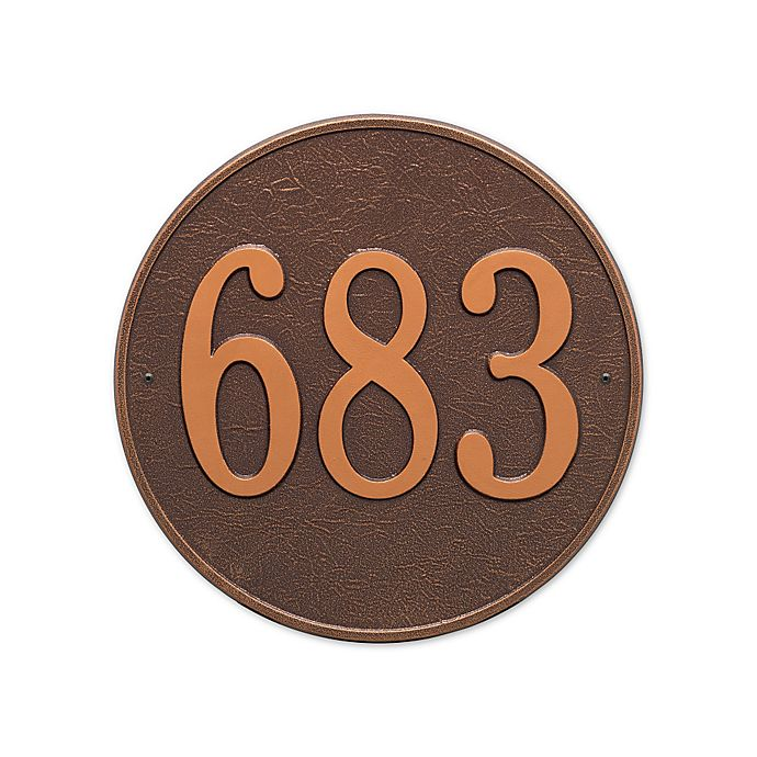 Alternate image 1 for Whitehall Products 15-in Round House Numbers Plaque in Bronze Gold