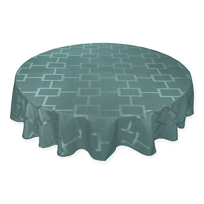 Alternate image 1 for Origins™ Tribeca Microfiber 90-Inch Round Tablecloth in Turquoise