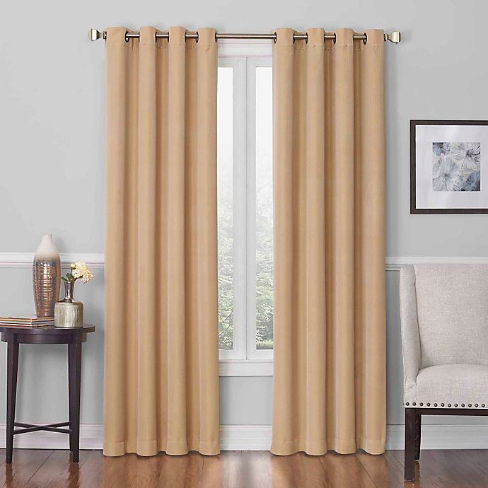 Alternate image 1 for Insola Dorian Grommet Top 84-Inch Window Curtain Panel in Gold