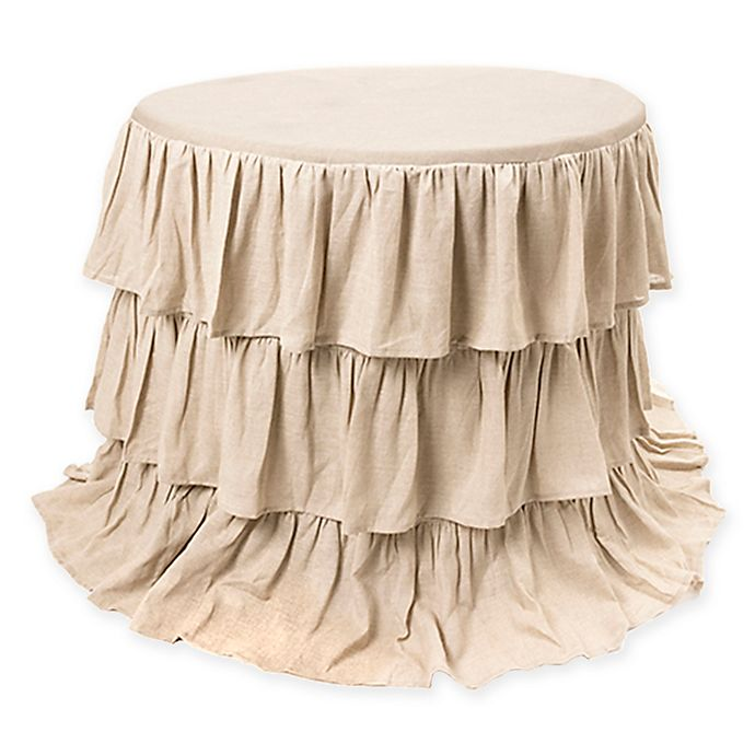 Alternate image 1 for Belle Ruffle 90-Inch Round Tablecloth in Natural