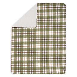 Trend Lab® Deer Lodge Faux Shearling Blanket in Green/Brown