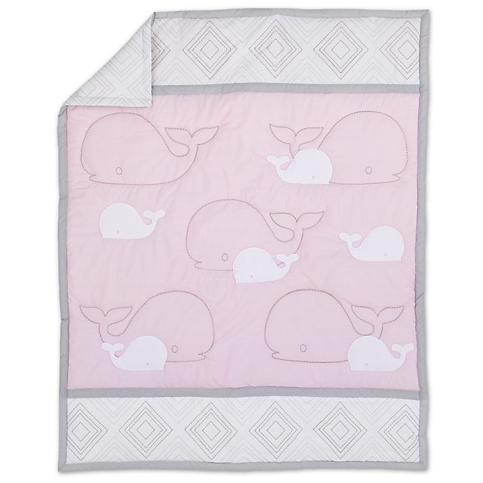 Alternate image 1 for Nautica Kids® Mix & Match Whale Comforter in Grey/Pink