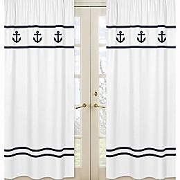Sweet Jojo Designs Anchors Away Window Panel Pair in White/Navy